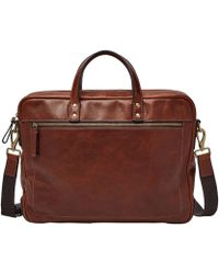 Fossil - Haskell Leather Laptop Double Zip Workbag - Lyst
