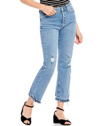 Free People - Dylan High Rise Distressed Crop Jeans - Lyst