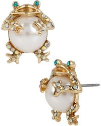 Betsey Johnson - Faux-pearl & Crystal Frog Stud Earrings - Lyst