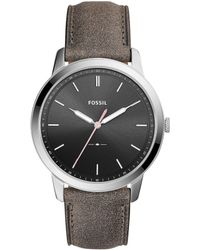 Fossil - The Minimalist Three-hand Gray Leather Watch - Lyst