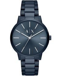Armani Exchange - Men's Three-hand Blue Stainless Steel Watch - Lyst
