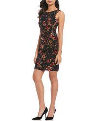Ivanka Trump - Floral Print Ruched Side Zip Sheath Dress - Lyst