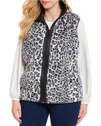 Ruby Rd. - Plus Size Leopard Print Reversible Zip Front Vest - Lyst