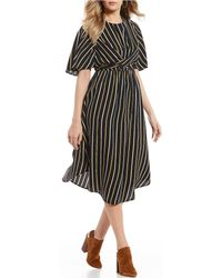 Blu Pepper - Stripe Criss Cross Wrap Front Midi Dress - Lyst