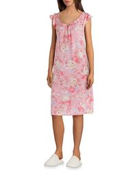 Miss Elaine - Floral-printed Woven Flutter-sleeve Nightgown - Lyst