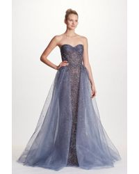 Marchesa - Couture Beaded Strapless With Tulle Overskirt Ball Gown - Lyst