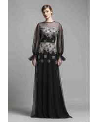 196bf7bd1d50 Fouad Sarkis For Mnm Couture Long Sleeve Gown in Black - Lyst