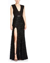Halston - Heritage V Neck Feather Boucle Gown - Lyst