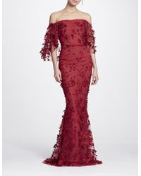 Marchesa notte - Red Embroidered Off The Shoulder Gown - Lyst