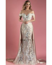 Mnm Couture - Beige Off The Shoulder Evening Gown - Lyst