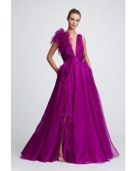 Marchesa - Plunging V-neck Evening Gown W/ Ruffle Slit & Flower-detail - Lyst