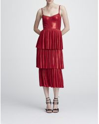 Marchesa notte - Pleated Lame Tiered Cocktail Dress W/ Metallic Trims - Lyst