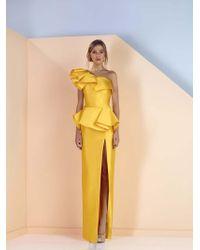 Edward Arsouni - Divina By One Shoulder Peplum Column Gown - Lyst