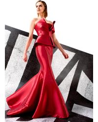 John Paul Ataker - Red Strapless Taffeta Evening Gown - Lyst