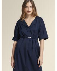 DKNY - Poplin Belted Shirt Dress - Lyst