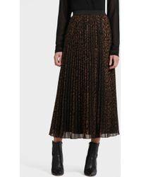DKNY - Leopard-print Pleated Chiffon Maxi Skirt - Lyst