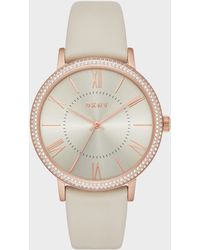 DKNY - Willoughby Rose Gold-tone And Gray Leather Three-hand Watch - Lyst
