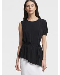 DKNY - Asymmetrical Top With Side Ruching - Lyst