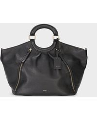 DKNY - Pebbled Leather Top Handle Large Tote - Lyst