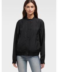 63df4fc9f DKNY Long Zip Bomber in Black - Lyst
