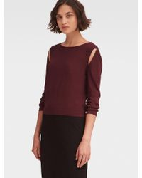 DKNY - Stretch Knit Cutout Top - Lyst