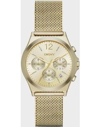 DKNY - Women's Chronograph Parsons Gold-tone Stainless Steel Mesh Bracelet Watch 38mm Ny2485 - Lyst