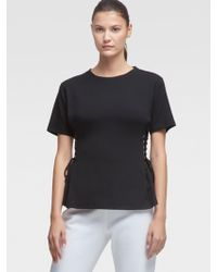DKNY - Tee With Lace-up Sides - Lyst
