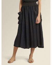 DKNY - Ruched Waist Midi Skirt - Lyst