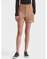DKNY - Suede Button-front Short - Lyst