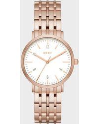 DKNY - Minetta Rose Gold-tone Three-hand Watch - Lyst