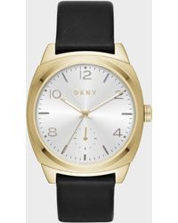 DKNY - Broome Gold-tone And Black Leather Three-hand Watch - Lyst