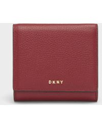 DKNY | Pebbled Leather Trifold Wallet | Lyst