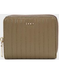 DKNY | Small Quilted Lamb Nappa Pinstripe Carryall Wallet | Lyst