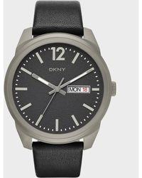 DKNY - Gansevoort Black Leather 3 Hand Watch - Lyst