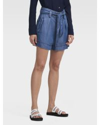 DKNY - Chambray Belted Short - Lyst
