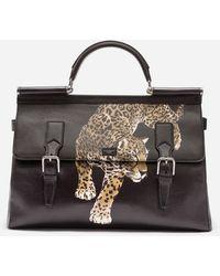 Dolce & Gabbana - Printed Calfskin Sicily Work Bag - Lyst