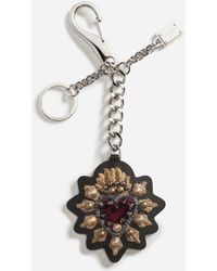 Dolce & Gabbana - Dauphine Calfskin Key Ring With Heart Patch - Lyst
