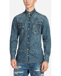 Dolce & Gabbana - Denim Shirt With Patches - Lyst