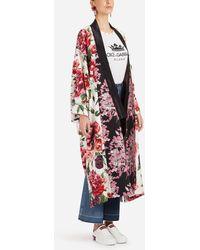Dolce & Gabbana - Peony-print Silk Kimono - Lyst