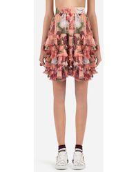 Dolce & Gabbana - Peony-print Silk Skirt - Lyst