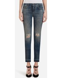 Dolce & Gabbana - Denim Stretch Fit Pretty Jeans With Patch Label - Lyst