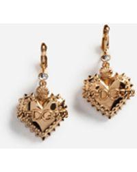 Dolce & Gabbana - Pendant Heart Earrings With Logo - Lyst