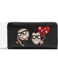 Dolce & Gabbana - Portafoglio Zip Around In Pelle Con Patch Stilisti - Lyst