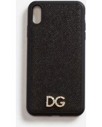 Dolce & Gabbana - Iphone Xs Max Cover In Dauphine Calfskin With Crystal Logo - Lyst