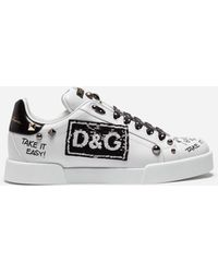 Dolce & Gabbana - Portofino Trainers In Calfskin With Patch And Embroidery - Lyst