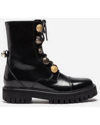 Dolce & Gabbana - Leather Biker Boots With Appliqué - Lyst