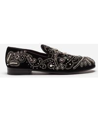 Dolce & Gabbana - Velvet Slippers With Embroidery - Lyst