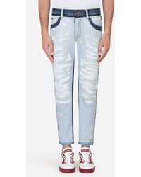 Dolce & Gabbana - Regular Fit Bi-colored Jeans - Lyst
