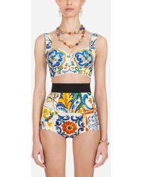 Dolce & Gabbana - Majolica-print Brocade Bustier - Lyst