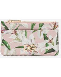 Dolce & Gabbana Card Holder In Lily-print Dauphine Calfskin